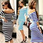Womens Off Shoulder Bandage Striped Sexy Long Cocktail Evening Midi Dress N4U8