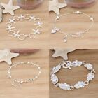 Wholesale Hot 925 Sterling Silver Solid Ladies Women Cube Chain Bracelet Bangle