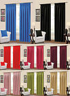 Plain Thermal Blackout Curtains Ready made Pencil Pleat Black Red Pink Plum Blue