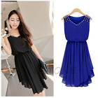 Womens Beach Dresses Casual Sleeveless Chiffon Flared Rhinestone Party Skater