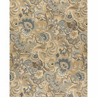 A0025A Gold Blue and Green Abstract Paisley Upholstery Fabric