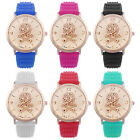 Women Watch Skull Silhouette Silicone Quartz Rhinestone Crystal Wrist Watch