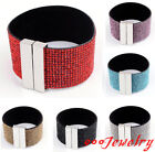 Fashion Row Crystal Gems Wide Pageant Prom Party Cuff Wristband Bangle Bracelet