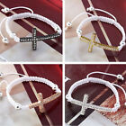 New Cross Curved Side Ways Crystal Beads Handmade Adjustable Bracelet 4 Colors