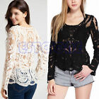 Women Semi Sheer Sleeve Embroidery Floral Lace Crochet Tee T-Shirt Top Blouse