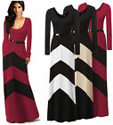 Women Long Sleeve Evening Cocktail Party Striped Maxi Long  Full-Length Dress