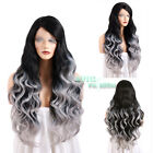 "20""-28"" Long Curly Black Mixed Grey Lace Front Synthetic Wig"