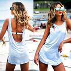 Fashion Women's Casual Sleeveless O-neck Backless Solid Mini Dress Hot Sundress