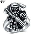 High Quality TT 316L Stainless Steel Grim Reaper Ring  Szie 7-13 (RZ119) NEW