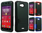 For Kyocera Hydro Wave C6740 Hybrid Silicone Rubber Skin Case Kick Stand Cover
