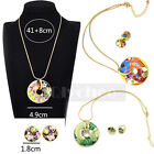 New Fashion Design Women Vintage Enamel Jewelry Set Round Earrings Necklace 1Set