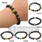 Fashion Mens Lava Stone Skull Head Buddha Beaded Rock Elastic Bracelet Bangle