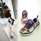 Fashion Sneakers Women's Floral Lace Up Flats Round Toe Casual Sport Shoes UK3-7