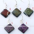 Pair Dichroic Fused Foil Murano Lampwork Glass Rombus Drop Hook Earring Ear Stud