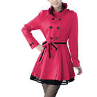Ladies Double-Breasted Front Belted Flare Hem Casual Trench Coat