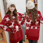 Merry Christmas Holiday Pullover Women's Jumper Knitwear Sweater Knit Top Red
