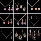 18k Gold Plated Cubic Zirconia Heart Pendant Necklace Earring Jewelry Sets