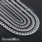 3/5/7/9/11mm MENS Chain Stainless Steel Silver Tone Curb Link  Necklace Fashion