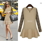 2015 New Lady cotton long sleeves Casual tops cocktail Evening dress plus size