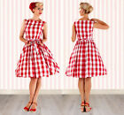 Women Vintage  Rockabilly Swing Check Wedding Ball Gown  Cocktail red  Dress