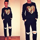 Casual Women Sports Ripped Tops Sweatshirt+Pants Track&Sweat Suits 2Pc Tracksuit