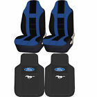 Ford Mustang Black Rubber Front Floor Mats & Poly Seat Covers Universal Set