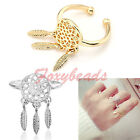 Fashion Delicate Dreamcatcher Leaf Feather Tassel Open Finger Ring Jewelry Gift