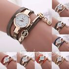 Stunning Womens Faux Leather Crystal Dail Wrap Pendant Chain Quartz Wrist Watch