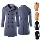 New Star Men Peacoat Double Breasted Coat Winter Long Jacket Outercoat Black