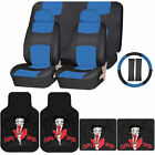 Synthetic Leather Seat Covers Set Betty Boop Skyline Rubber Floor Mats Universal $104.95 USD