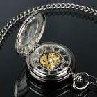 PACIFISTOR Mens Mechanical Chain Skeleton Pocket Watch Transparent Vintage Style