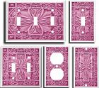 IMAGE OF FLORAL TILE PINK  LIGHT SWITCH COVER PLATE   GROUP  U PICK PLATE SIZE