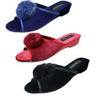 Four Seasons Ladies Wedge Mule Slippers Open Toes Fancy  Boa Christmas Mules
