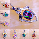 Rainbow & Pink & Green Topaz & Ruby Spinel Gemstone Silver Pendant Necklace