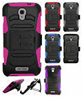 Alcatel OneTouch Elevate Hybrid Combo Holster KICKSTAND Rubber Case+Screen Guard