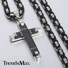 Mens Chain Cross Byzantine Stainless Steel PENDANT NECKLACE 18-36'' Rhinestones