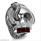 Mens X Large Skull With Snake Red Crystal Teeth Silver Stainless Steel Ring