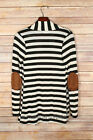 BLACK Beige STRIPED CARDIGAN Jacket Suede Elbow Patch Long Sleeve New S M L 1X