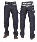 New Mens Enzo Straight Fit Designer Jeans Denim Banded Pants EZ296