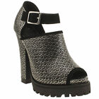 SHELLYS ACYWEN WOMENS SILVER BLACK LEATHER HIGH HEELS COURTS SHOES