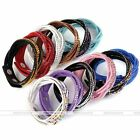 Women 6-row Crystal Studded Suede Leather Cuff Wrap Click Buckle Bangle Bracelet