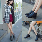 UK New Vintage Women's Soft Casual Round Chelsea Boots Low-heeled Leather Shoes