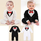 Toddler Baby Boys Dress Gentleman Romper Jumpsuit Bodysuit Kids Clothes Outfit