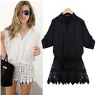 Fashion Women Loose Was Thin Lace Stitching Lace Skirt White Shirt Tops Blouse