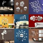 Fashion 3D Art Silver Mirror Wall Sticker Decal Home Room Decor DIY Multi Style