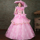 Court Organza Lace Victorian Flounce Theater Halloween Costume Prom dress Pink