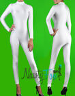 White Shiny Spandex Mock Neck Long Sleeve Unitard,Bodysuit Aerobic Costume S-3XL