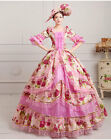 Women Court Lace Victorian Trumpet Sleeves Floral Costume Prom dress Pink
