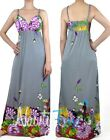 Gray Multi Color Garden Maxi Dress Floral Summer Beach Vacation Dress XS-3XL