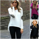 Fashion Women Lady Casual Long Sleeve Crew Neck Loose Blouse Sexy T-Shirt Tops